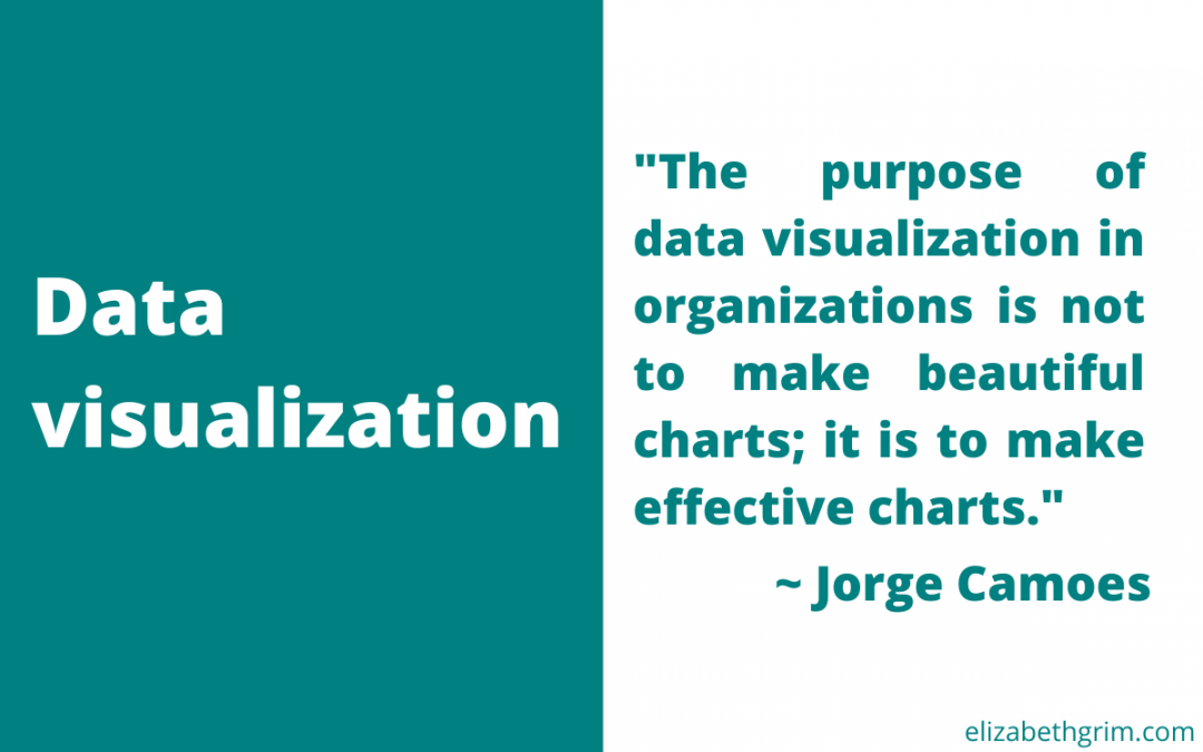 """Quote from Jorge Camoes: The purpose of data visualization in organizations is not to make beautiful charts; it is to make effective charts."""""""