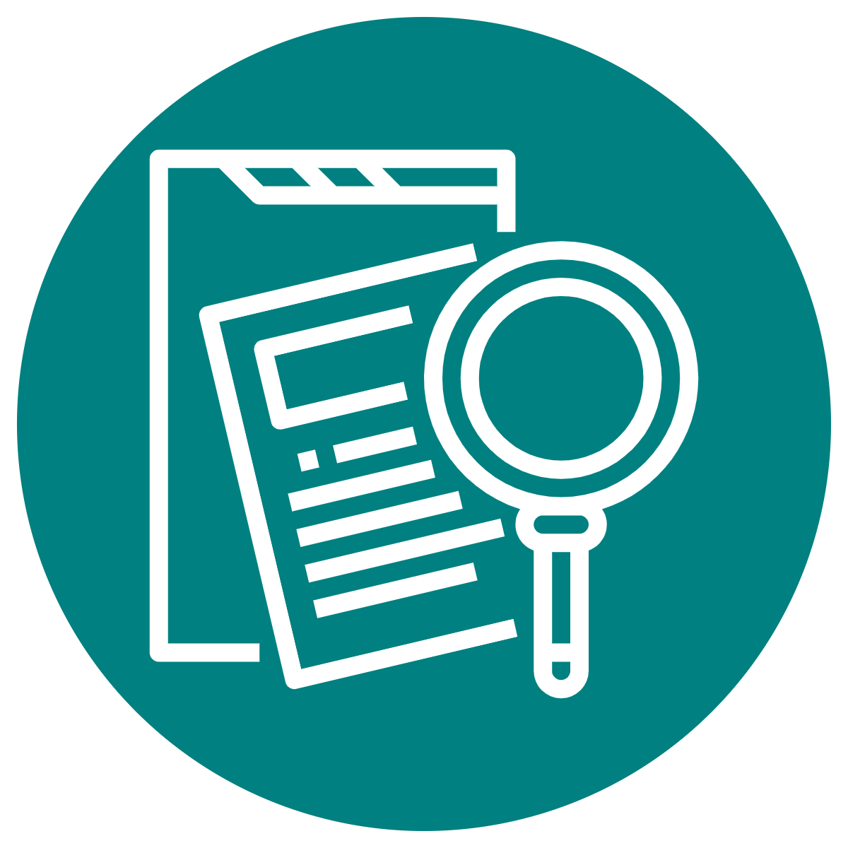 Icon of a clipboard and magnifying class to symbolize program evaluation.