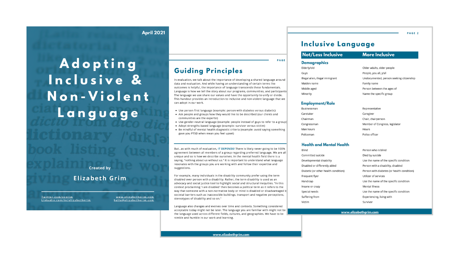 Images from the adopting inclusive and non-violent language handout.