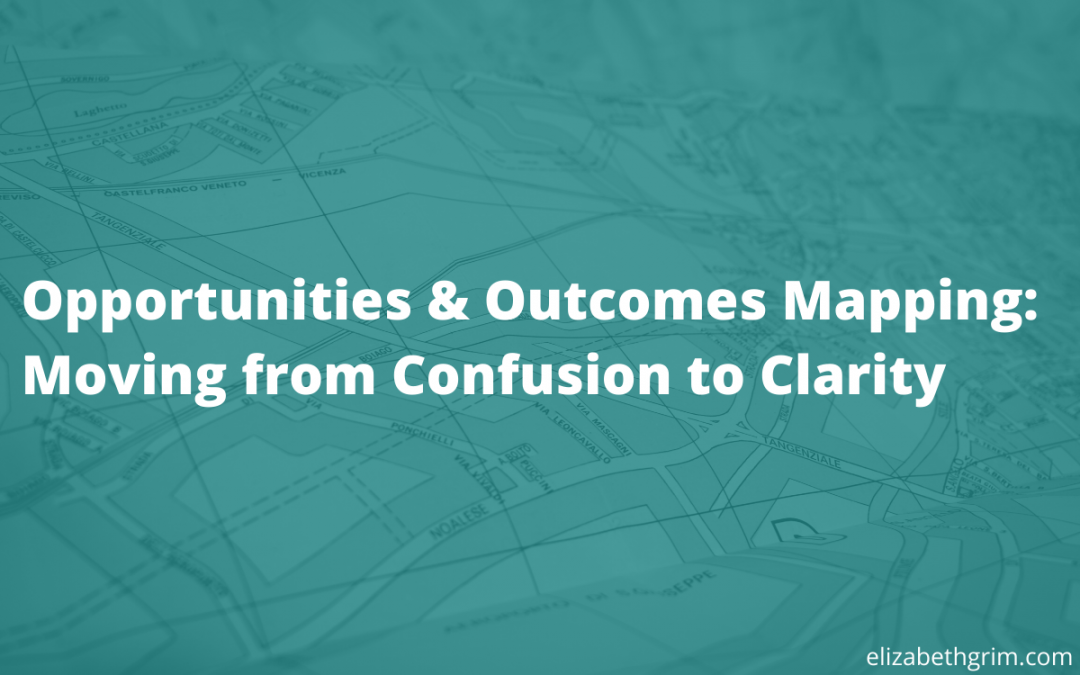 Image of a map with the blog title overlaid. Opportunities and Outcomes Mapping: Moving from Confusion to Clarity.